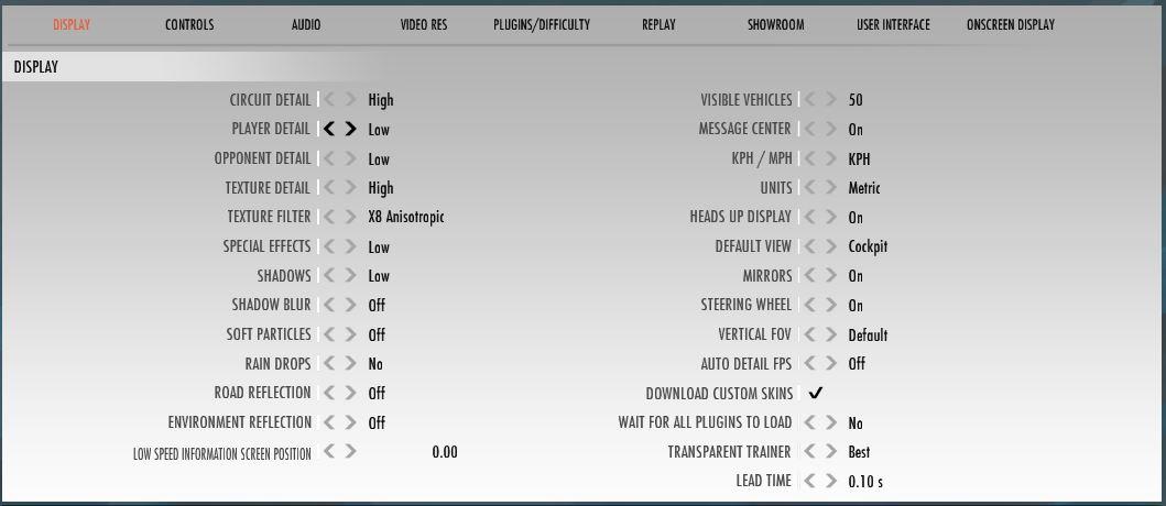 Display ajustes gráficos para rFactor 2 con Oculus Rift